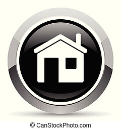 House vector steel icon. Chrome border round web button....