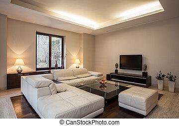 house:, vista, travertine, sala de estar