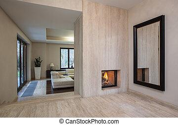 house:, vivendo, entrada, sala, travertine