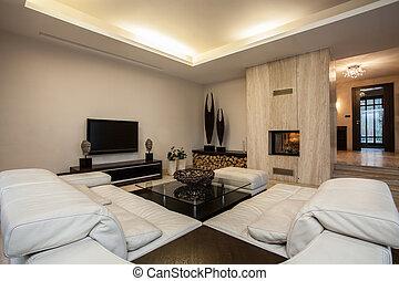 house:, vivendo, espaçoso, travertine, sala
