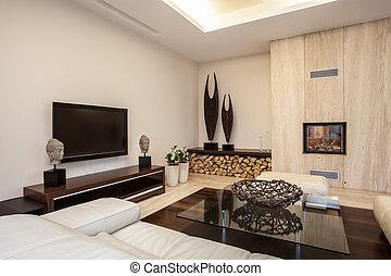 house:, vivendo, iluminado, travertine, sala