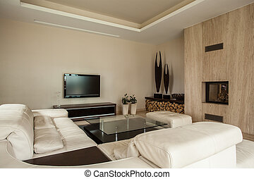 house:, vivendo, lareira, sala, travertine
