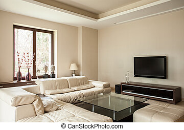 house:, vivendo, luminoso, sala, travertine
