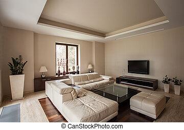 house:, vivendo, quarto moderno, travertine