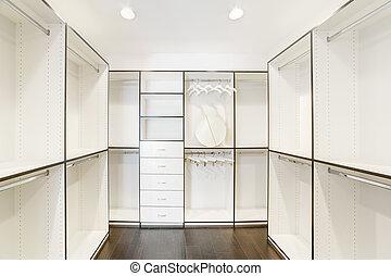 house., walk-in, armário, luxo