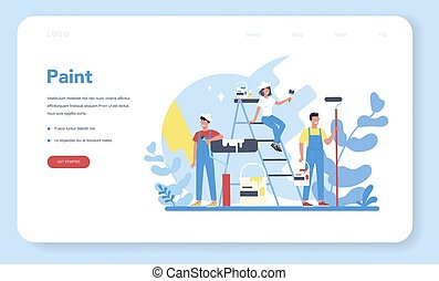 House wall paint concept web banner or landing page. People