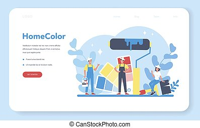 House wall paint web banner or landing page. People in the uniform
