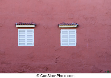 House wall with two windows - Typical canarian house wall...