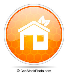 House web icon. Round orange glossy internet button for webdesign.