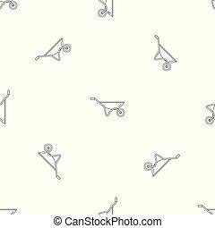 House wheelbarrow pattern seamless vector