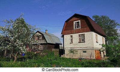 House white brick in the village. 4K.