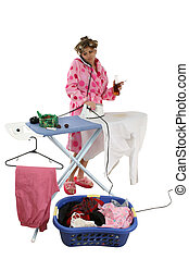 House Wife - Busy housewife ironing and sorting laundry...
