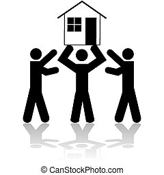 House win - Concept illustration showing a person lifting a...