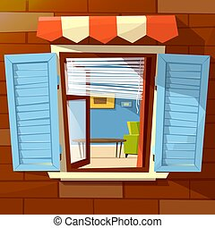 House window facade vector cartoon illustration of old or...