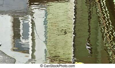 House Window Reflects in the Water at Spring, Shot in 4K...