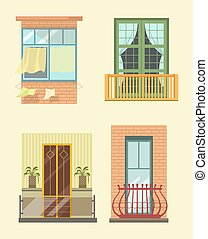 House windows and balcony different stlyes exterior decor...
