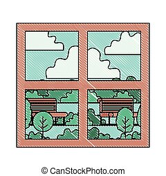 house windows with park view