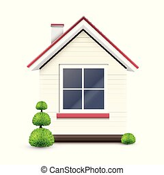 House with a big window, vector