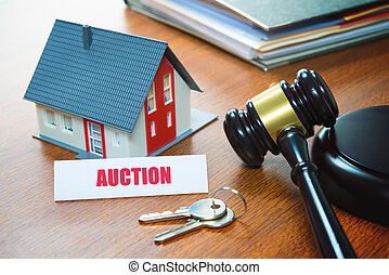 House with a Gavel. Foreclosure, real estate, sale, auction, business, buying