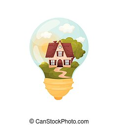 House with a high roof in front of a large tree. Figure inside the light bulb. Vector illustration.