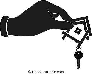 House with a key in the hand silhouette