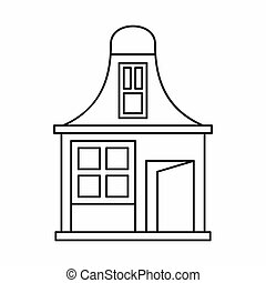 House with a mansard icon, outline style