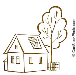 House with a tree, pictogram - cartoon, landscape: country...