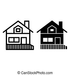 House with a veranda line and glyph icon. Gable roof house with porch vector illustration isolated on white. Cottage outline style design, designed for web and app. Eps 10.