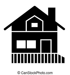 House with a veranda solid icon. Gable roof house with porch vector illustration isolated on white. Cottage glyph style design, designed for web and app. Eps 10.