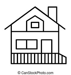 House with a veranda thin line icon. Gable roof house with porch vector illustration isolated on white. Cottage outline style design, designed for web and app. Eps 10.