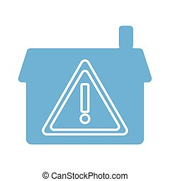 house with alert symbol line style icon