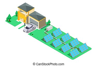 House with alternative Eco Green Energy, flat 3d web isometric infographic concept. Solar Panels set. Vector illustration