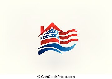 House with American flag logo