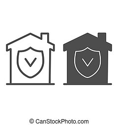 House with approved protection line and solid icon, smart home concept, checked building security vector sign on white background, House with shield inside icon in outline for mobile. Vector graphics.
