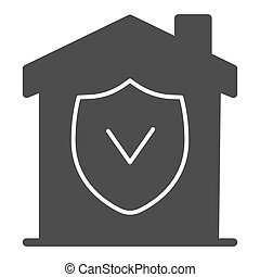 House with approved protection solid icon, smart home concept, checked building security vector sign on white background, House with shield inside icon in glyph for mobile. Vector graphics.