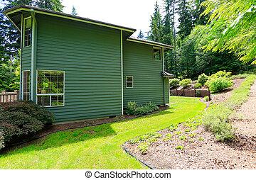 House with backyard landscape