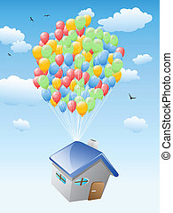 house with balloons flying in the blue sky