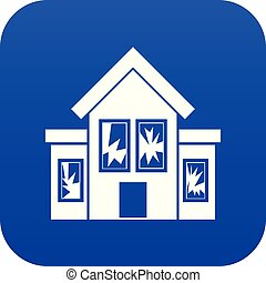 House with broken windows icon digital blue