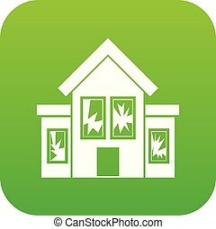 House with broken windows icon digital green