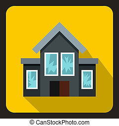 House with broken windows icon, flat style