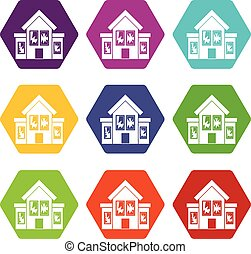 House with broken windows icon set color hexahedron