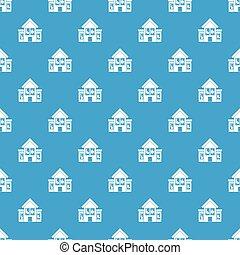 House with broken windows pattern seamless blue