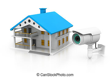 House with  CCTV camera, house Security concept