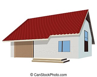 house with ceramic tiles roof over white background, abstract vector art illustration