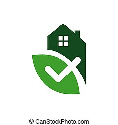 house with check mark template illustration for healthy home sign verified estate logo design vector.