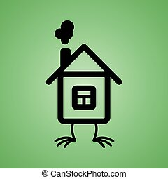 House with chicken feet icon on isolated green background. Vector element for your design.