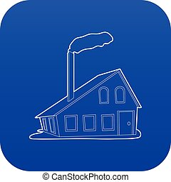 House with chimney icon blue vector