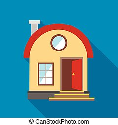 House with chimney icon, flat style