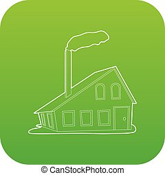 House with chimney icon green vector