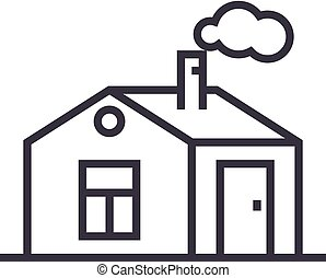 house with chimney vector line icon, sign, illustration on background, editable strokes